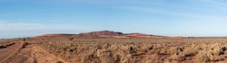 Iron Knob, South Australia, Australia - July 7, 2021: Iron Knob panorama. Iron ore mining towm just west of Port Augusta, Iron Knob, Outback South Australia.