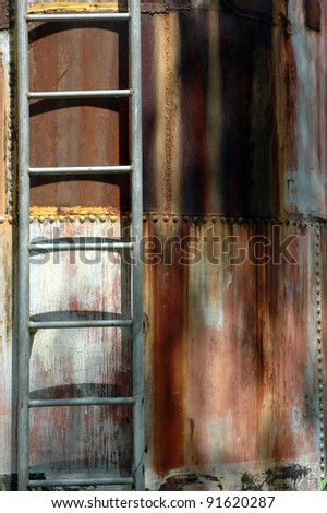 iron ladder on the metal cylinder