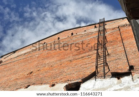 iron ladder on the wall