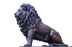 iron lion isolated on white background