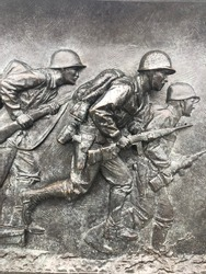 Iron mold of soldiers at Korean War Memorial