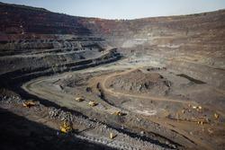 Iron ore quarry. Mining machinery