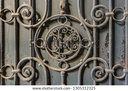 Iron ornate door detail background photo #1305312325