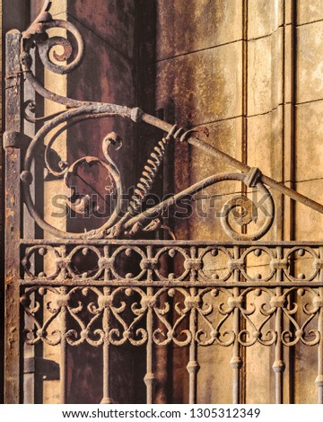 Iron ornate door detail background photo #1305312349