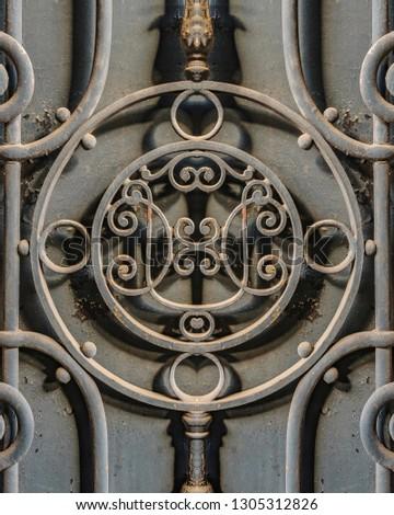 Iron ornate door detail background photo #1305312826