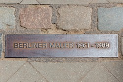 Iron plaque of the Berliner wall near checkpoint Charlie