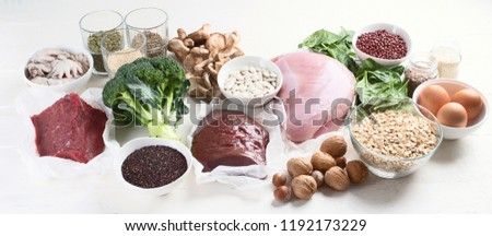Iron rich foods. Healthy eating concept. Panorama #1192173229