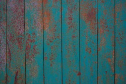 Iron rusty background, blue metal with red vintage spots
