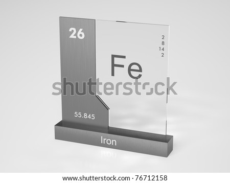 Iron - symbol Fe - chemical element of the periodic table