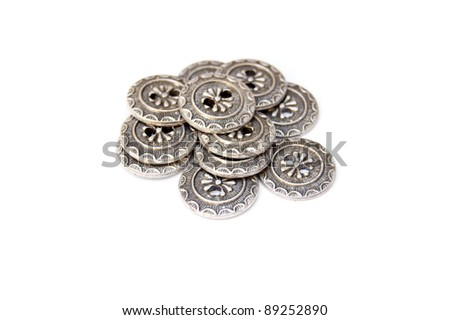 Iron vintage buttons - isolated on white