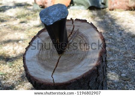 iron wedge splits wood trunk through a break