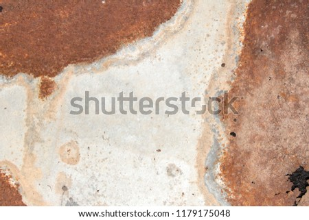 iron white wall with rust, old peeling white paint on rough and rusty corroded metal surface, rusty painted metal surface abstract background and texture for design