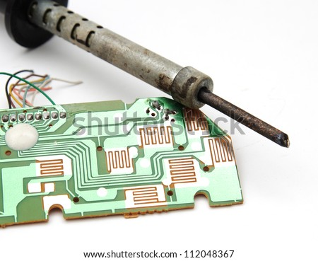 iron with a board on a white background - stock photo
