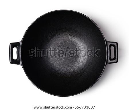 iron wok isolated on white background #556933837