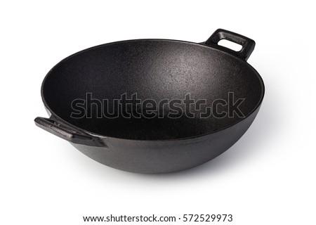 iron wok isolated on white background #572529973
