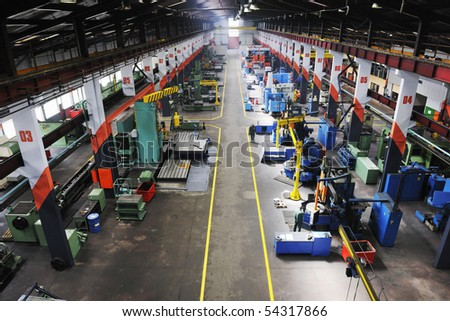 iron works steel and machine parts modern factory indoor hall