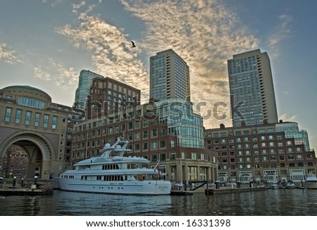 Iroquois - The yacht of John Henry, owner of the Red Sox docked in front of the Boston Harbor Hotel in Boston, Massachusetts.