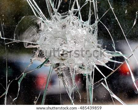 Irregular shapes of a  broken car window inside from accident #485439859