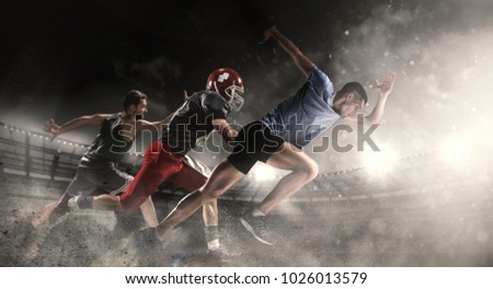 Irresistible in attack. Multi sports collage with running, basketball, American football players. Conceptual photo with fit running athletes in motion or movement at stadium. Sand and smoke. Winners