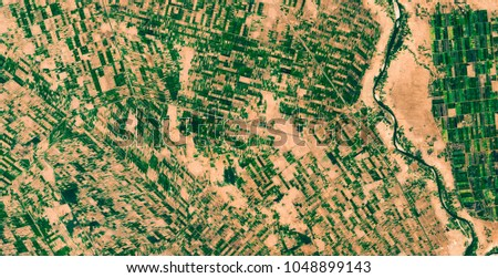 Irrigated agriculture pattern at Nile river from above, Khartoum, Sudan, Africa, satellite picture, natural background texture, contains modified Sentinel Copernicus data [2018]
