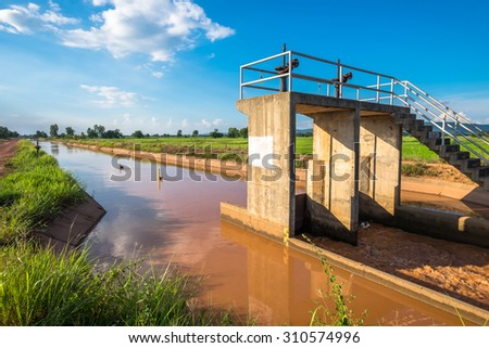 Irrigation canal and water gate in agriculture area, countryside of Thailand