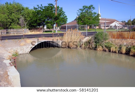 Irrigation Canal of the Jordan River in Salt Lake Valley,Utah