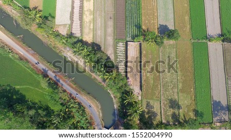 irrigation channels on agriculture. Infrastructure in agriculture. Building agricultural land. Aerial landscape in villages in Indonesia and Asia. #1552004990