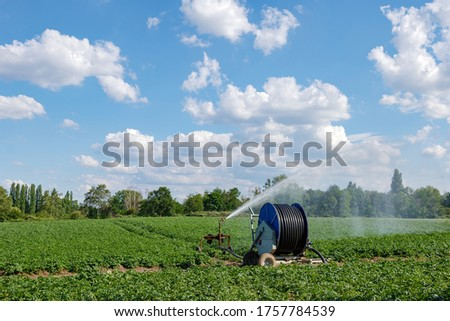 Irrigation hose reel, Agricultural Travelling Irrigator or Hose Reel Irrigation Sprinkler Machine with Water Sprinkler set up on agricultural field on countryside in Germany.