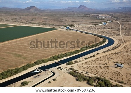Irrigation in the desert near Mesa, Arizona