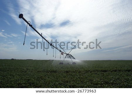 Irrigation of a soybean field in Argentina