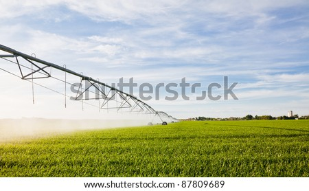 Irrigation pivot watering a a green crop.