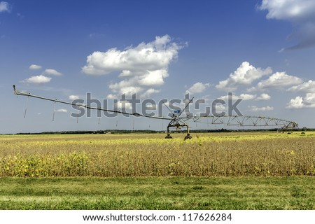 Irrigation system against blue sky in Wisconsin