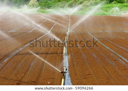Irrigation system on a large farm field