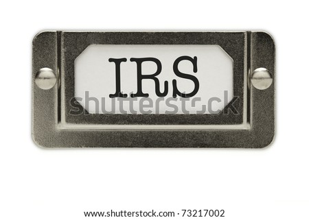 IRS File Drawer Label Isolated on a White Background.