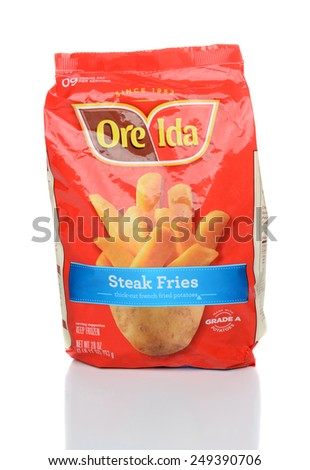 IRVINE, CA - JANUARY 28, 2015: A 28oz package of Ore-Ida Steak Fries. Ore-Ida\'s primary production facility is located in Ontario, Oregon.