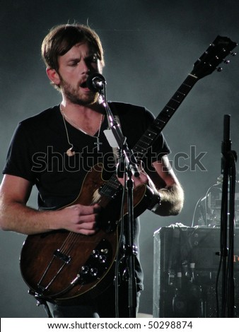 IRVINE, CA - MAY 16: Singer Nathan Followill of Kings of Leon performs onstage at KROQ's Weenie Roast Y Fiesta 2009 May 16, 2009 in Irvine, CA.