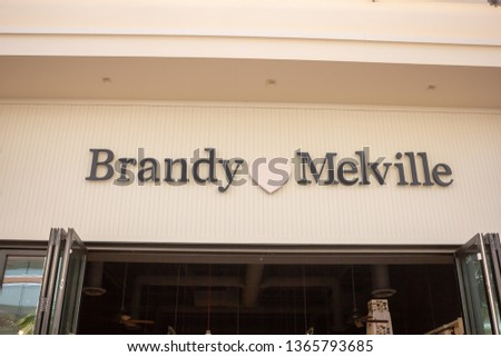 Irvine, California/United States - 03/29/19: A store front sign for the clothing retailer known as Brandy Melville #1365793685