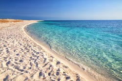 Is Arutas beach, Sardinia, Italy, Europe. Is Arutas is known as the beach of the grains of rice.