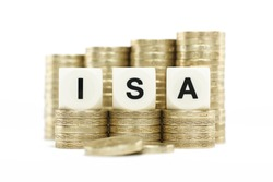 ISA (Individual Savings Account) on gold coins with a white background