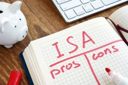ISA Individual Savings Account pros and cons in the note pad.