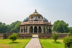 Isa Khan's Tomb, an octagonal tomb known for its sunken garden was built for a noble in the Humayun's Tomb complex in Delhi.