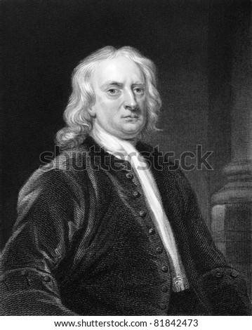Isaac Newton (1643-1727). Engraved by E.Scriven and published in The Gallery Of Portraits With Memoirs encyclopedia, United Kingdom, 1837.