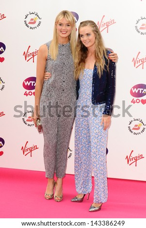 Isabella Branson and Cresida Bonas arriving for the WTA Pre-Wimbledon Party 2013 at the Kensington Roof Gardens, London. 20/06/2013