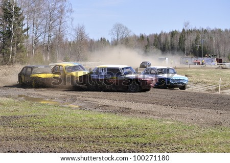 ISATRA, SWEDEN - APRIL 16: First competition in Sweden MSK folkrace malarcupen at old wrecked cars stock-race in Isatra , Sweden on April 16, 2011