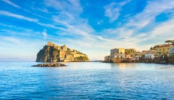 Ischia island and Aragonese medieval castle or Ischia Ponte. Travel destination near Naples in Campania, Italy. Europe.
