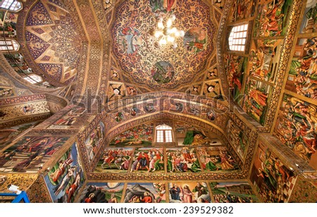 ISFAHAN, IRAN - OCT 15: Holy Bible symbols and saints life\'s pictures inside the old armenian Vank Cathedral on October 15, 2014. Vank Cathedral or The Church of the Saintly Sisters was built in 1664