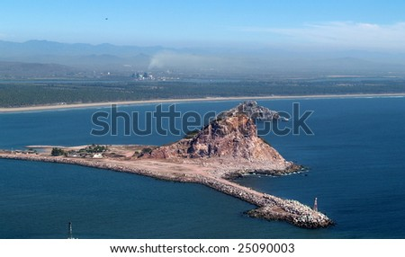 Isla Cordones, Mazatlan, Sonora, Mexico as viewed from the el Faro Lighthouse -  looking south Panorama pic 7 of 8