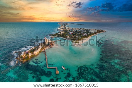 isla mujeres island near Cancun Mexico with sunset Foto stock ©