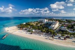 Isla Mujeres Mexico Caribbean Beach Hotel - Drone Aerial Photo