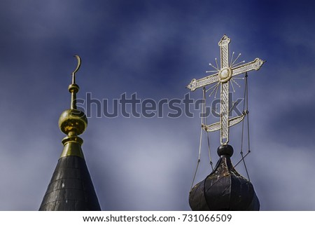 Islam and christian symbol together, concept of religions in peace